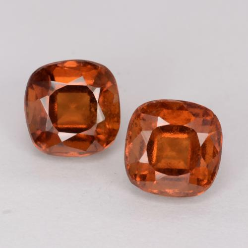 1.58 ct Cushion-Cut Amber Orange Hessonite Garnet Gemstone 6.15 mm x 6.1 mm (Product ID: 541535)
