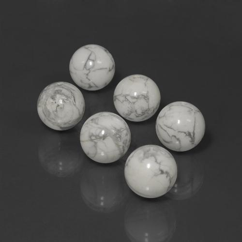 Greyish White Howlite Gem - 15.3ct Drilled Sphere (ID: 422987)