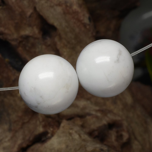 Greyish White Howlite Gem - 14.7ct Drilled Sphere (ID: 469906)