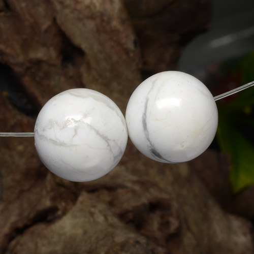 Greyish White Howlite Gem - 15.3ct Drilled Sphere (ID: 469907)