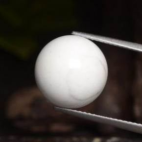 Grayish White Howlite Gem - 15.8ct Drilled Sphere (ID: 470031)