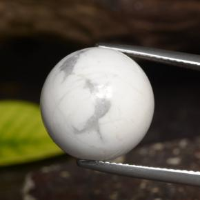 Greyish White Howlite Gem - 23.1ct Drilled Sphere (ID: 470034)