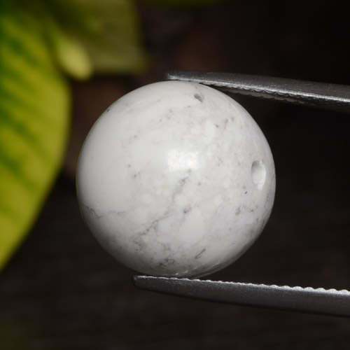 Greyish White Howlite Gem - 22.7ct Drilled Sphere (ID: 470039)