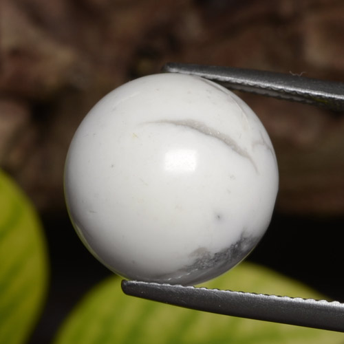 Greyish White Howlite Gem - 23.5ct Drilled Sphere (ID: 470040)