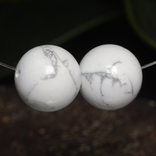 Greyish White Howlite Gem - 23.4ct Drilled Sphere (ID: 470042)