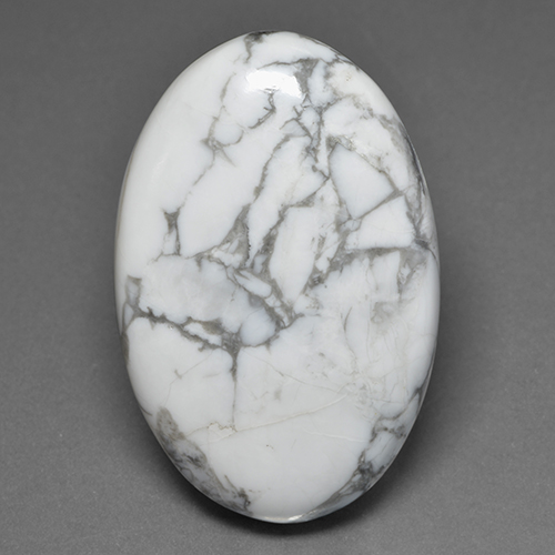 Multicolor White Howlite Gem - 81.3ct Oval Cabochon (ID: 501683)