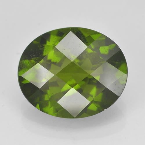 Olive Green Idocrase Gem - 4ct Oval Checkerboard (ID: 502117)