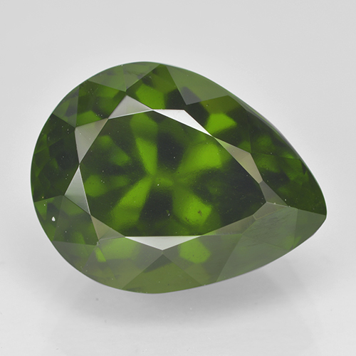 Olive Green Idocrase Gem - 6.5ct Pear Facet (ID: 502119)