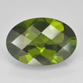 3.9ct Oval Checkerboard Olive Green Idocrase Gem (ID: 502121)