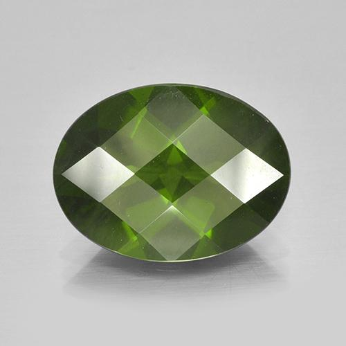 Olive Green Idocrase Gem - 6.7ct Oval Checkerboard (ID: 502122)