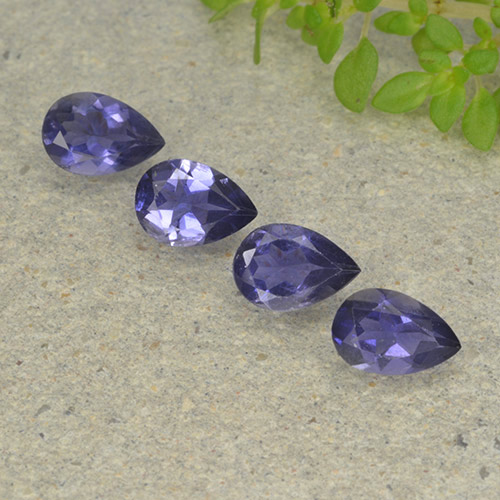 Deep Purple Iolite Gem - 0.3ct Pear Facet (ID: 498011)