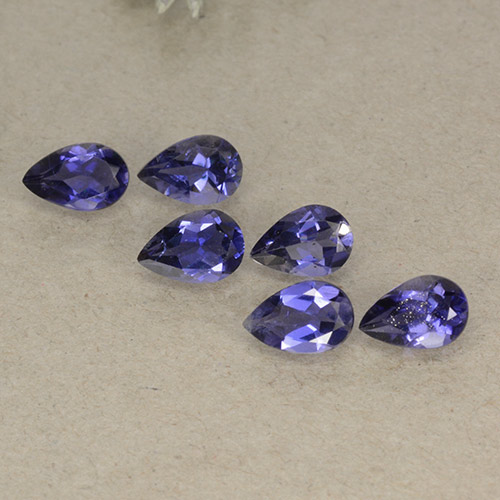 Violet Blue Iolite Gem - 0.3ct Pear Facet (ID: 498091)