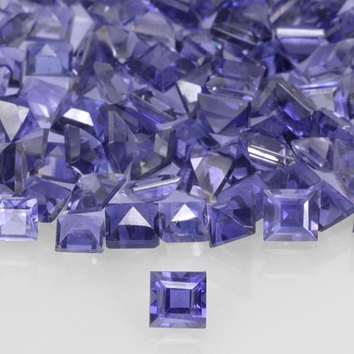 Violet Blue Iolite Gem - 0.1ct Square Step-Cut (ID: 505580)