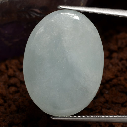 Grey Green Jadeite Gem - 10.5ct Oval Cabochon (ID: 384139)