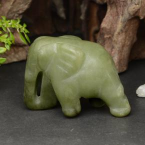 Green Jadeite Gem - 114.3ct Carved Elephant (ID: 470446)