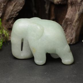 Green Jadeite Gem - 143.4ct Carved Elephant (ID: 470452)
