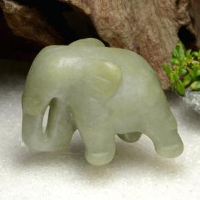 thumb image of 131.1ct Carved Elephant Green Jadeite (ID: 470558)