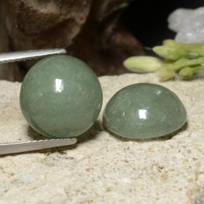 Medium Green Giadeite Gem - 8ct Cabochon rotondo (ID: 470602)