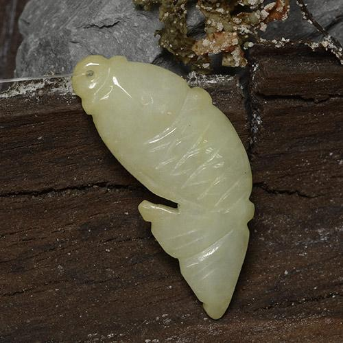 Golden Jadeite Gem - 30.4ct Carved Fish with Hole (ID: 484844)