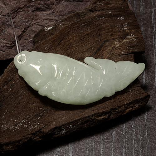 Green White Jadeite Gem - 37.6ct Carved Fish with Hole (ID: 484959)