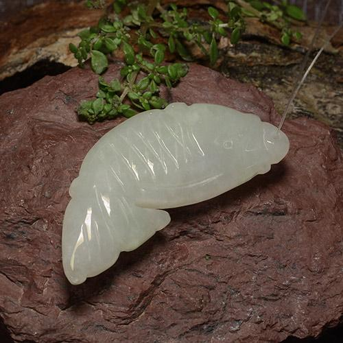 Gray Jadeite Gem - 26.7ct Carved Fish with Hole (ID: 485055)