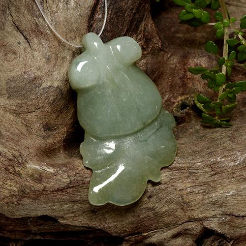 White Green Jadeite Gem - 31.8ct Carved Fish with Hole (ID: 494282)
