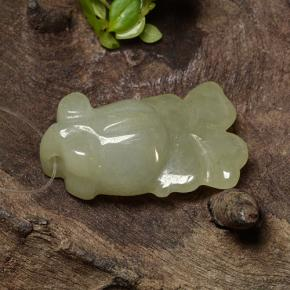 Yellowish Green Jadeite Gem - 17.5ct Carved Fish with Hole (ID: 494861)