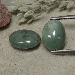 Grayish Green Jadeite Gem - 3.6ct Oval Cabochon (ID: 496149)