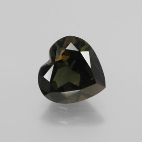 2.50 ct Heart Facet Brownish Green Kornerupine Gemstone 9.02 mm x 8.7 mm (Product ID: 382002)