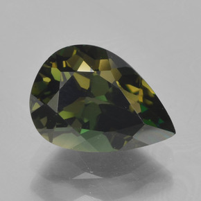Yellowish Green Kornerupine Gem - 2ct Pear Facet (ID: 389155)