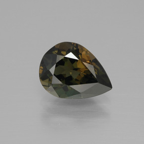 2.50 ct Pear Facet Greenish Brown Kornerupine Gemstone 10.21 mm x 7.7 mm (Product ID: 390426)