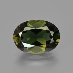 2.58 ct Oval Facet Yellowish Green Kornerupine Gemstone 10.51 mm x 7.7 mm (Product ID: 411605)