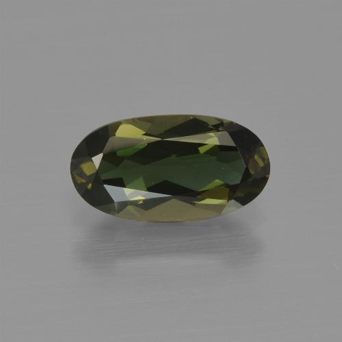 1.42 ct Oval Facet Yellowish Green Kornerupine Gemstone 9.89 mm x 5.3 mm (Product ID: 411900)