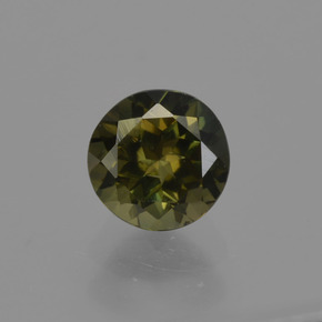 0.60 ct Round Facet Brownish Green Kornerupine Gemstone 5.05 mm  (Product ID: 421884)