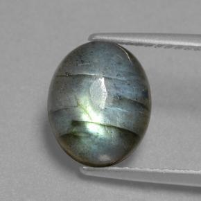 Gray Blue Sheen Labradorite Gem - 4.3ct Oval Cabochon (ID: 462600)