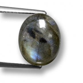 Gray Blue Sheen Labradorite Gem - 6.2ct Oval Cabochon (ID: 462811)
