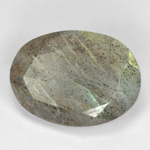 Blue-Sheen Gray Labradorite Gem - 11.7ct Oval Facet (ID: 473109)