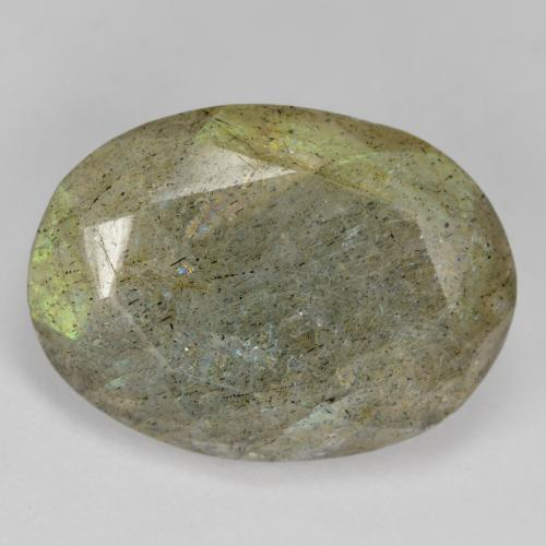 Blue-Sheen Gray Labradorite Gem - 11.8ct Oval Facet (ID: 473418)