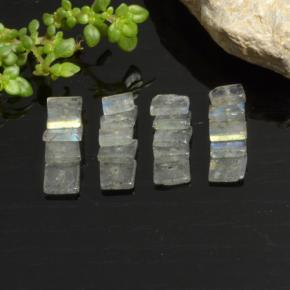 0.2ct Square with Hole Gray Blue Sheen Labradorite Gem (ID: 478971)
