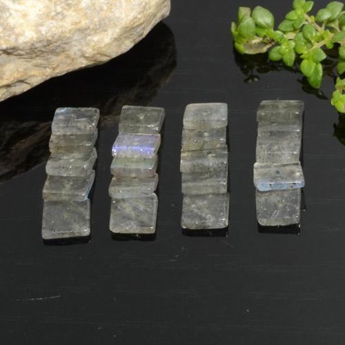 Gray Blue Sheen Labradorite Gem - 0.4ct Square with Hole (ID: 478977)