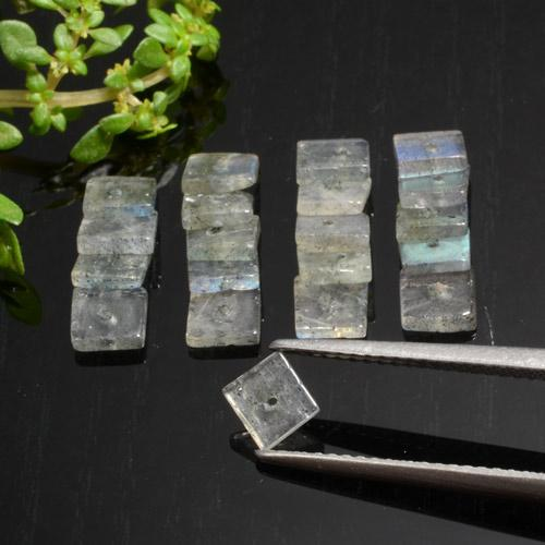 Gray Blue Sheen Labradorite Gem - 0.3ct Square with Hole (ID: 479586)