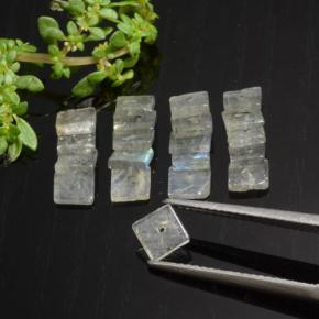 Gray Blue Sheen Labradorite Gem - 0.3ct Square with Hole (ID: 479591)