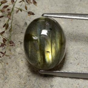 Gray Blue Sheen Labradorite Gem - 6.3ct Oval Cabochon (ID: 482817)
