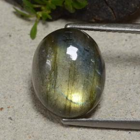 Gray Blue Sheen Labradorite Gem - 5.9ct Oval Cabochon (ID: 482856)