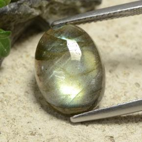 Gray Blue Sheen Labradorite Gem - 6ct Oval Cabochon (ID: 489507)