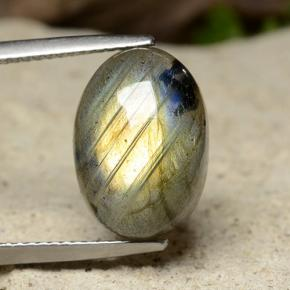 Gray Blue Sheen Labradorite Gem - 7.6ct Oval Cabochon (ID: 489511)