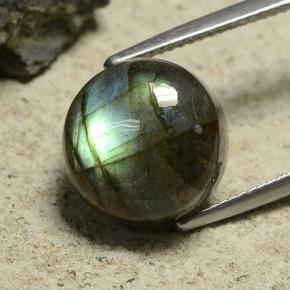 thumb image of 9.6ct Round Cabochon Gray Blue Sheen Labradorite (ID: 489596)