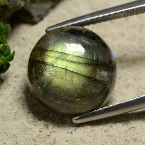 Gray Blue Sheen Labradorite Gem - 9.9ct Round Cabochon (ID: 489602)