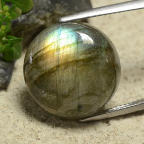 Gray Blue Sheen Labradorite Gem - 17.8ct Round Cabochon (ID: 489606)