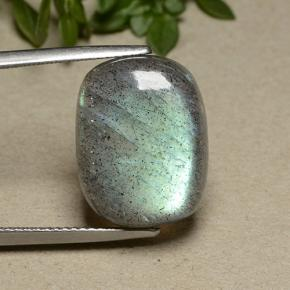 Gray Blue Sheen Labradorite Gem - 12.2ct Cushion Cabochon (ID: 493490)